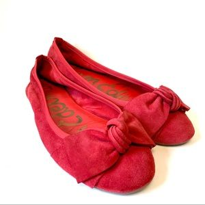 Sam Edelman Red Suede Flats EUC Size 8